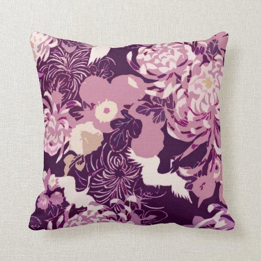 Vintage Pillows: Vintage Pink Purple Flowers And Birds PLdesign Pillow