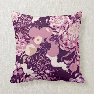 Vintage Pink purple flowers and birds PLdesign Throw Pillow