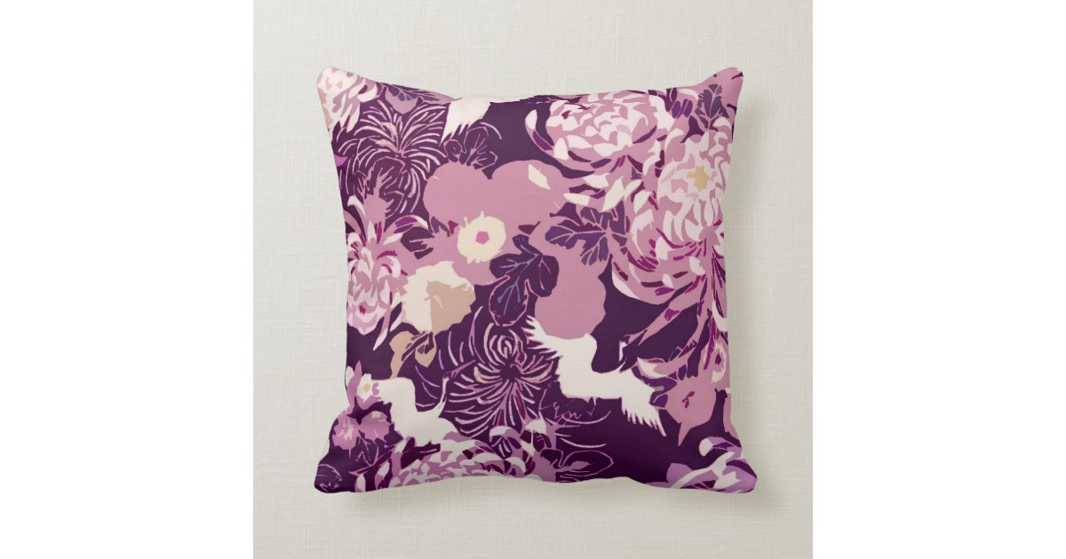 Lavender Flower Throw Pillow : Vintage Pink purple flowers and birds PLdesign Throw Pillow Zazzle