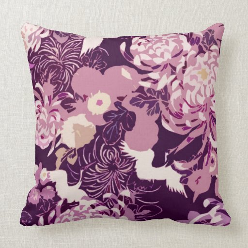 Purple And Pink Decorative Pillows : Vintage Pink purple flowers and birds throw pillow Pillows Zazzle