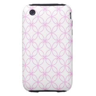 Vintage pink  quatrefoil trellis pattern iPhone 3 tough cases