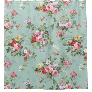 Pink flowers shower curtains zazzle vintage pink red elegant roses flowers pattern shower curtain mightylinksfo