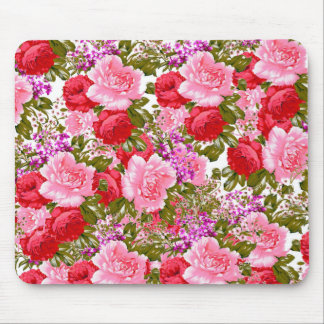 Vintage pink red green roses bohemian floral mouse pad