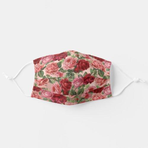 Vintage Pink Red Roses Floral Rose Gold Cloth Face Mask
