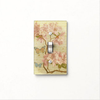 Vintage Pink Rhododendron Elegant Floral Butterfly Light Switch Cover