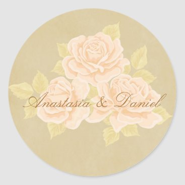 invitations_kits Vintage pink romantic roses with golden fleurdelis classic round sticker