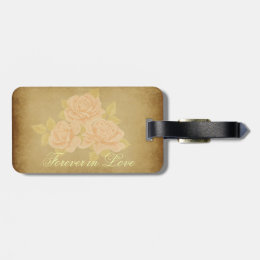 Vintage pink romantic roses with golden fleurdelis luggage tag
