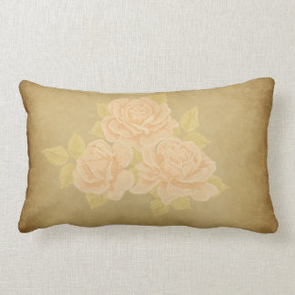 Vintage pink romantic roses with golden fleurdelis lumbar pillow