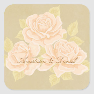 Vintage pink romantic roses with golden fleurdelis square sticker