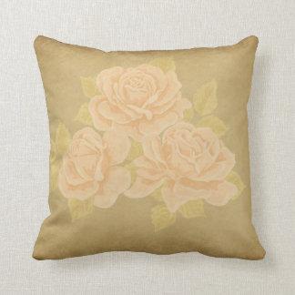 Vintage pink romantic roses with golden fleurdelis throw pillow