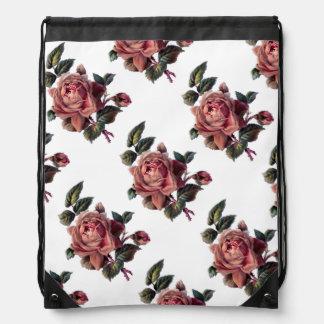Vintage Pink Rose and Bud Drawstring Backpack