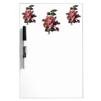 Vintage Pink Rose and Bud Dry Erase Board