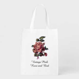 Vintage Pink Rose and Bud Grocery Bags