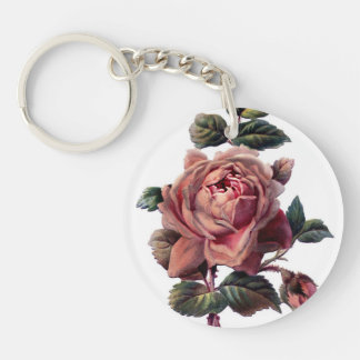 Vintage Pink Rose and Bud Keychain