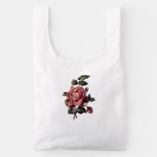 Vintage Pink Rose and Bud Reusable Bag