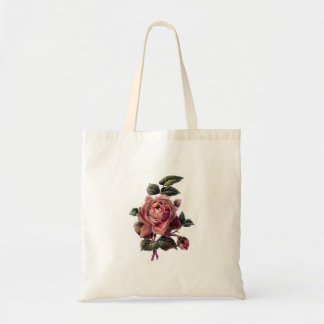 Vintage Pink Rose and Bud Tote Bag