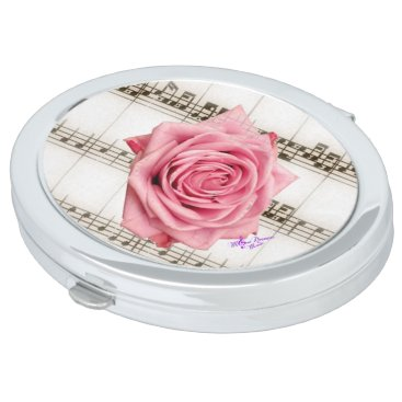 moondreamsmusic Vintage Pink Rose and Music Oval Compact Mirror