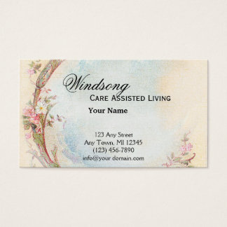 Vintage Pink Rose and Robin Wedding Business Business Card