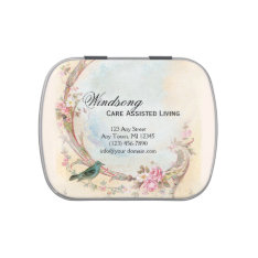 Vintage Pink Rose and Robin Wedding Business Jelly Belly Tin at Zazzle