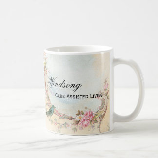Vintage Pink Rose and Robin Wedding Business Classic White Coffee Mug