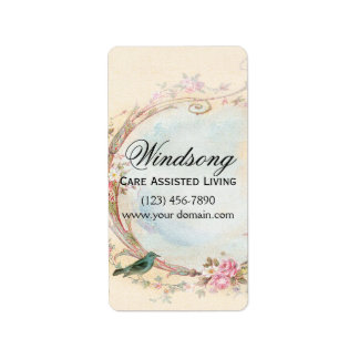 Vintage Pink Rose and Robin Wedding Business Personalized Address Labels