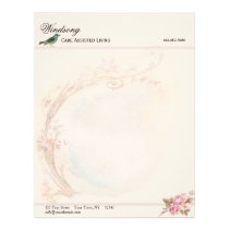 Vintage Pink Rose and Robin Wedding Business Letterhead