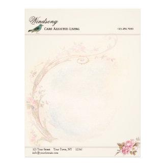 Vintage Pink Rose and Robin Wedding Business Letterhead
