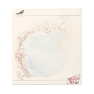Vintage Pink Rose and Robin Wedding Business Note Pad