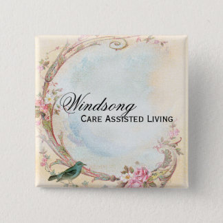 Vintage Pink Rose and Robin Wedding Business Pinback Button
