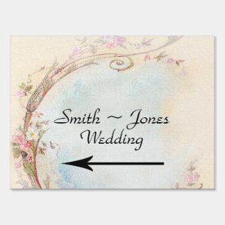 Vintage Pink Rose and Robin Wedding Direction Sign