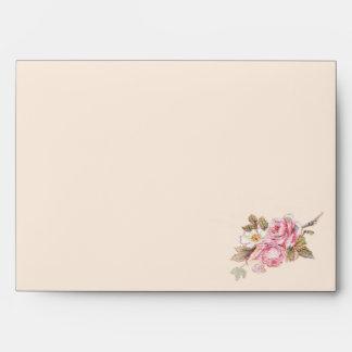 Vintage Pink Rose and Robin Wedding Envelope