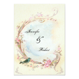 Vintage Pink Rose and Robin Wedding Invitation