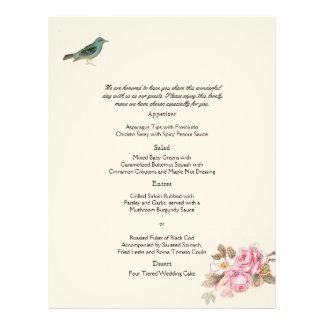Vintage Pink Rose and Robin Wedding Menu Flyers