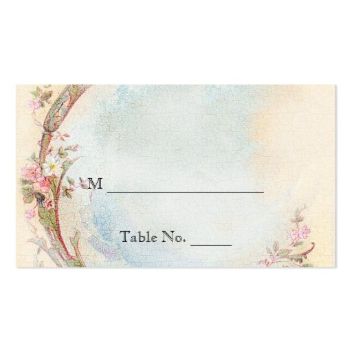 Vintage Pink Rose and Robin Wedding Place Cards Business Card Template