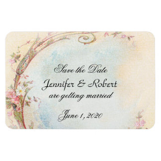 Vintage Pink Rose and Robin Wedding Save the Date Magnet