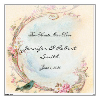 Vintage Pink Rose and Robin Wedding Wall Cling Wall Decal