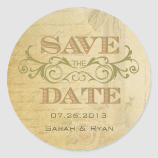 Vintage Pink Rose and Swirl Save the Date Sticker