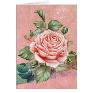 Vintage Pink Rose | Balloons Inside Birthday Card