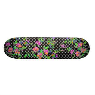 Vintage pink rose - black and white polka-dots skateboard