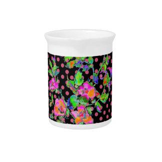 Vintage Pink Rose black/pink polka-dots Drink Pitcher