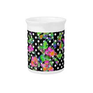 Vintage Pink Rose black/white polka-dots Drink Pitchers