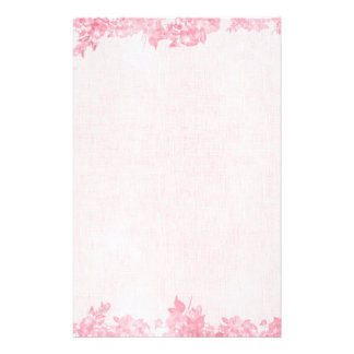 Vintage Pink Rose Border (2) Stationery