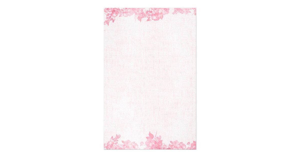 Vintage Pink Rose Border 2 Stationery Zazzle Com