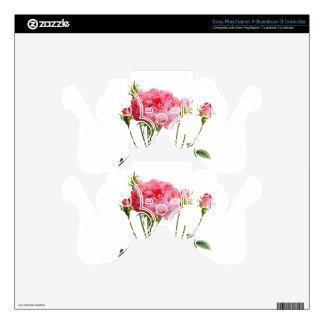 Vintage Pink Rose - Botanical Art PS3 Controller Skins