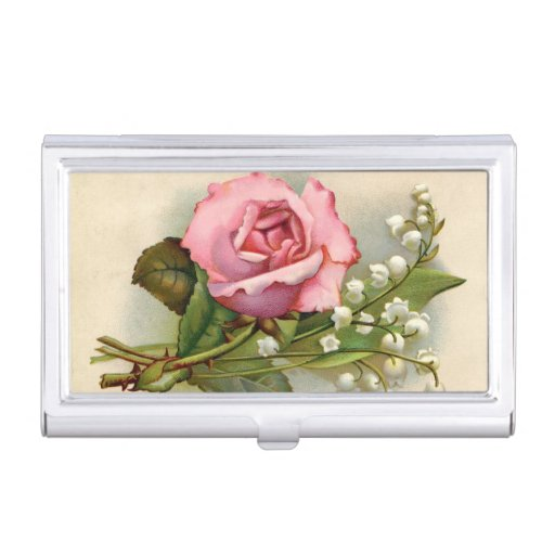 Vintage Pink Rose Business Card Case