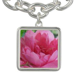 Vintage Pink Rose Charm Bracelet