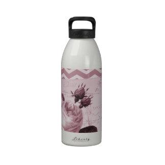 Vintage Pink Rose Chevron Water Bottle