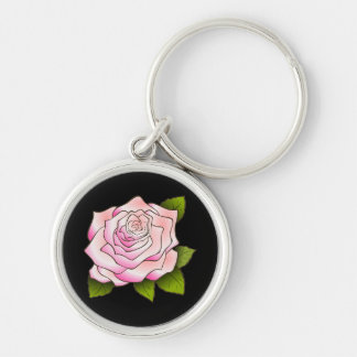 Vintage Pink Rose Drawing Black Keychain Silver-Colored Round Keychain