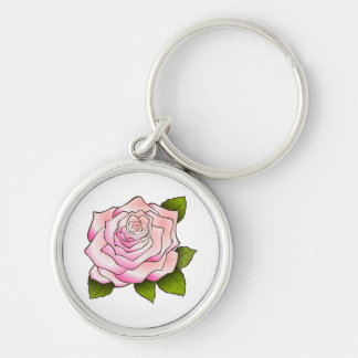 Vintage Pink Rose Drawing Premium Round Keychain Silver-Colored Round Keychain