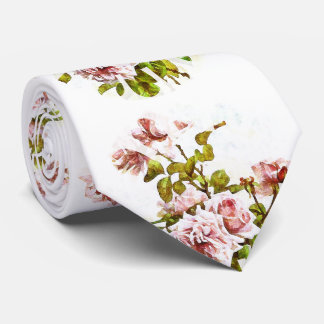 Vintage Pink Rose, elegant floral wedding tie